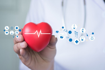 Medicine doctor red heart medicine pharmacy medical technology network computer interface as concept