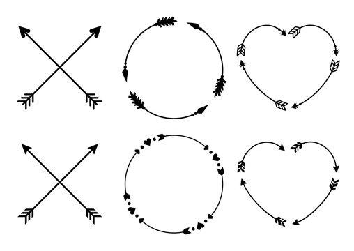 Circle and heart arrow frames for monograms. Criss cross hipster arrows. Arrows in boho style. Tribal arrows set. Vector