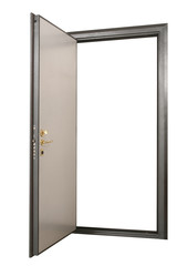 Open powerful metal safe-door with natural wood paneling