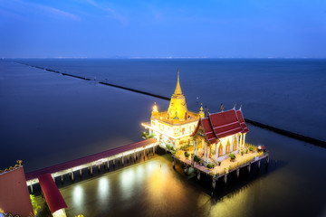 "Top view thai temple on the sea , landscape thailand""Wat Hong thong"" Temple built in the sea at chachoengsao province, Unseen Thailand"