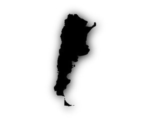 Karte von Argentinien mit Schatten