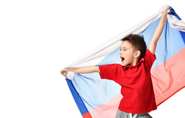 Fan sport boy patriot hold national russian flag celebrating happy smiling laughing free text copy space