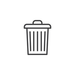 Garbage bin outline icon. linear style sign for mobile concept and web design. Trash can simple line vector icon. Symbol, logo illustration. Pixel perfect vector graphics