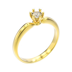 3D illustration isolated yellow gold traditional solitaire engagement diamond ring