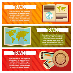 Vector banner with travel items. Flat illustration. Map, hat, ticket, book, guide, journal, earth, word wide travel