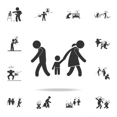 child's removal from parents icon. Detailed set of illustration bad family icons. Premium quality graphic design. One of the collection icons for websites, web design