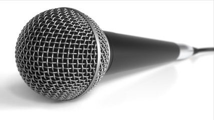 Microphone against white background. 3D rendering