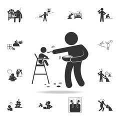 improper feeding of a child icon. Detailed set of illustration bad family icons. Premium quality graphic design. One of the collection icons for websites, web design
