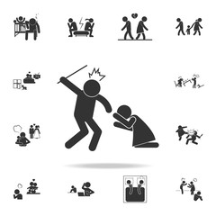 man's maneuvering over a woman icon. Detailed set of illustration bad family icons. Premium quality graphic design. One of the collection icons for websites, web design
