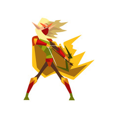 Mythical elf archer with bow, fantasy magical creature character vector Illustration on a white background