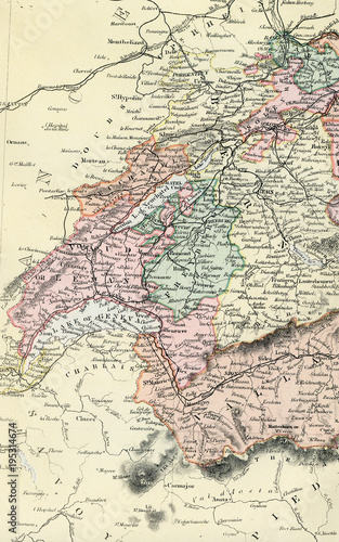 Vintage Map of Switzerland - Early 1800 World Maps\