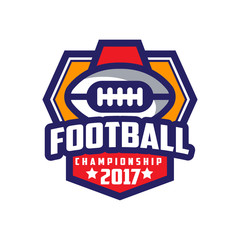 Football championship 2017 logo template, American football emblem, sport team insignia vector Illustration on a white background