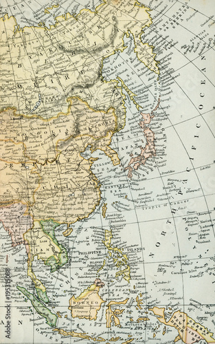 1800 Map Of The World.Vintage Map Of Asia Early 1800 Antique Maps Of The World Stock