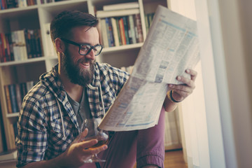 Newspapers and drink