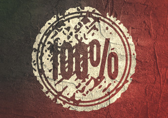 Abstract stamp. Graphic design element. Distressed grunge texture. 100 percent number