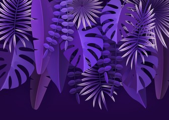 Tropical leaves and plants. Ultraviolet abstract background with tropical foliage. Cut paper. Vector illustration