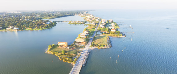 Photo Blinds Sea Panorama aerial view of Seabrook city near Texas Gulf Coast and Clear Lake. Waterfront harbor town with pier. Wooden vacation house under construction. Real estate and beach travel background