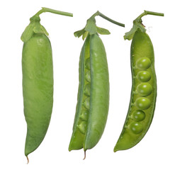 isolated three green pea pods
