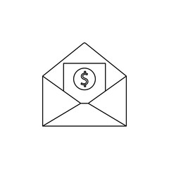 envelope with money icon. Element of banking icon for mobile concept and web apps. Thin line  icon for website design and development, app development. Premium icon