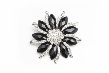 Wall Mural - round brooch flower with gems stones isolated on white