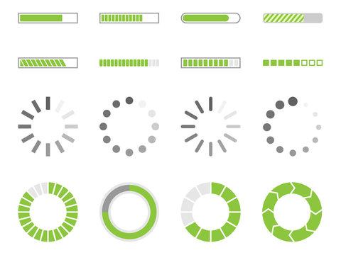 loading signs, load indicator icons, preload symbol set