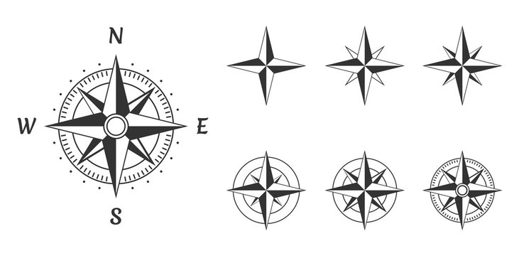 wind rose compass icons set, vector illustration