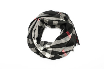 plaid scarf isolated on white