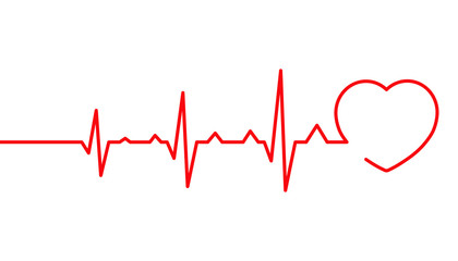Heart pulse, Cardiogram line vector illustration, Heartbeat