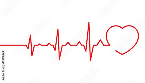 """Heart pulse, Cardiogram line vector illustration ..."