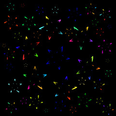 Background of colored stars from symbols. Suitable for postcards, paper and fabric.