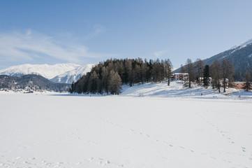 St. Moritz, St. Moritzersee, Stazerwald, Engadin, Oberengadin, Winter, Wintersport, Winterwanderweg, Langlauf, Muottas Muragl, Alpen, Graubünden, Schweiz