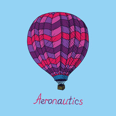 Pink, purple colors palette hot air balloon (Aeronautics) with inscription, hand drawn doodle sketch, isolated vector outline illustrationΠon blue background