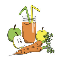 vector color apple carrot juice in jar, healthy vegetarian tasty smoothy fresh juice