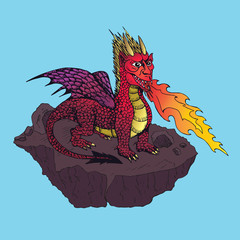 Red horned dragon with wings blowing fire and standing on the rock, hand drawn doodle sketch, isolated vector color illustrationŒ
