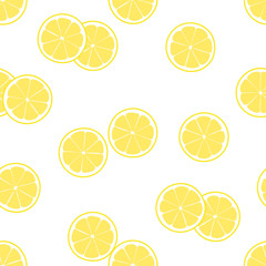 Vector illustration of seamless pattern of lemon slice.