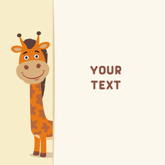 Funny giraffe looks out over the fields to text. Template with giraffe for cards, invitations or greetings
