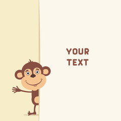 Funny monkey looks out over the fields to text. Template with monkey for cards, invitations or greetings