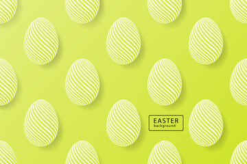 Abstract easter green background with black frame for text. Creative 3D eggs with pattern. Vector illustration