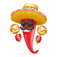 Latin maraca mexican hat red cool hot chili pepper sunglasses mustache happy character realistic 3d cartoon design vector illustration