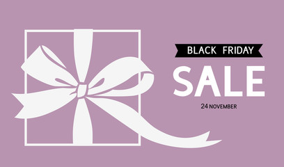 Wall Mural - Black Friday Sale design template. Vector background with gift box and bow silhouette