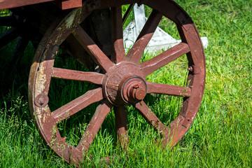 Old wooden wagon wheel