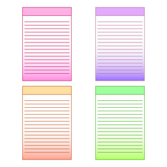 set of multi-colored page templates for notepad. Vector graphics