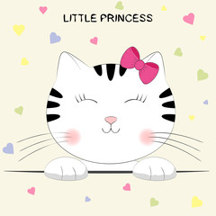 Cute cartoon kitty . Head of cat with lettering Little Princess.