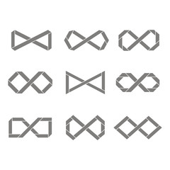 set of monochrome icons with Infinity symbols for your design