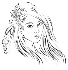 Graphic image of a young Asian girl with long hair. Vector illustration
