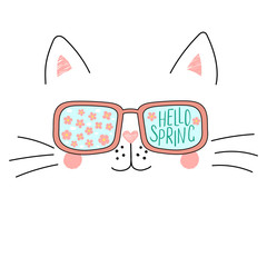 Hand drawn portrait of a cute cartoon funny cat in sunglasses with cherry blossoms reflection, text Hello Spring. Isolated objects on white background. Vector illustration. Design change of seasons.
