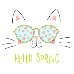 Canvas Prints Illustrations Hand drawn portrait of a cute cartoon funny cat in sunglasses with cherry blossoms reflection, text Hello Spring. Isolated objects on white background. Vector illustration. Design change of seasons.