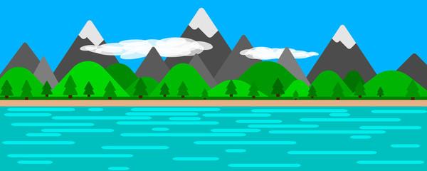 Illustrated landscape scenary