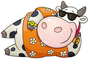 Cartoon chubby bull. Vector clip art illustration with simple gradients.