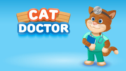 Cat doctor cute cartoon animal.Vector clip art illustration.